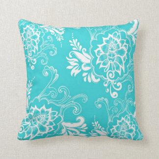 Classic, elegant, stylish. girly aqua blue floral pillow