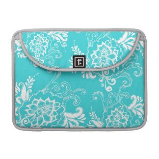 Classic, elegant, stylish. girly aqua blue floral sleeve for MacBook pro