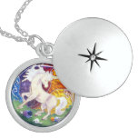 CLASSIC ENAMEL STERLING SILVER UNICORN CHARM ROUND LOCKET NECKLACE
