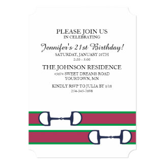 Classic Equestrian 21st Birthday 5x7 Paper Invitation Card