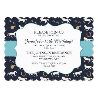 Classic Equestrian girls Fifteenth Birthday 5x7 Paper Invitation Card