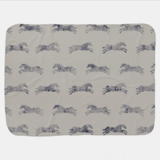 Classic Equestrian Horse Pattern Stroller Blanket