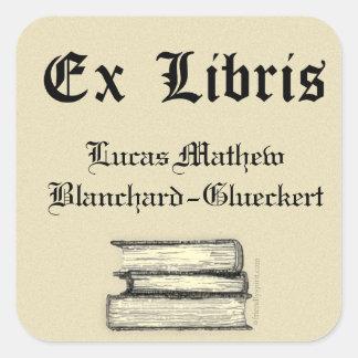 Classic Ex Libris Bookplate Square Sticker