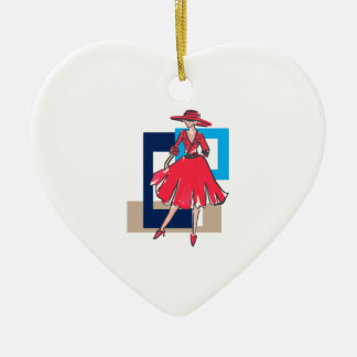 CLASSIC FASHION MODEL Double-Sided HEART CERAMIC CHRISTMAS ORNAMENT