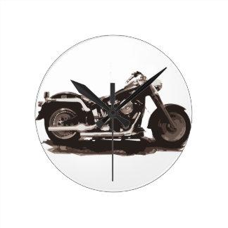 Classic Fat Boy Motorcycle Round Wallclocks