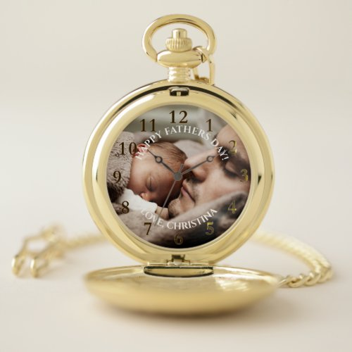 Classic Fathers Day Photo Personalized Message Pocket Watch
