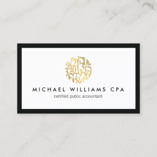 Clic Faux Gold Numbers Logo Accountant Business Card