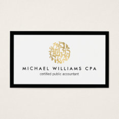 Classic Faux Gold Numbers Logo Accountant Business Card at Zazzle