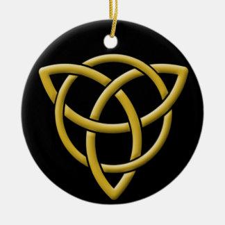 Classic Faux Gold on Black Celtic Tri-Quatra Ceramic Ornament