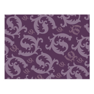 Classic Feathered Damask Post Cards