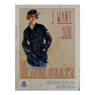 Classic Female Solider Zombie Recruitment Poster