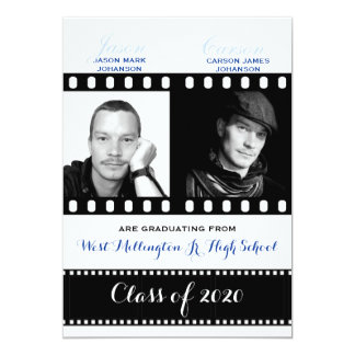 Classic Film Theme with Blue Twin Graduation Card