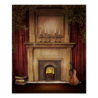 Classic Fireplace Poster