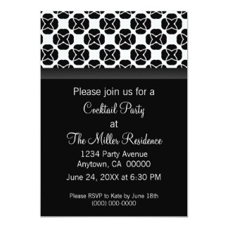 Classic Flair Cocktail Party Invite Black Amp White Card
