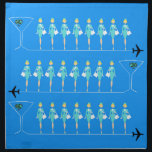 """Classic Flight Attendant Cloth Napkins<br><div class=""""desc"""">When you see these Classic Flight Attendant Cloth Napkins, it will be love at first flight! Inspired by 1960&#39;s minimalist art, this design features a vibrant, sky blue background. There are rows of identical retro flight attendants wearing aqua uniforms and pillbox hats. The lovely, poised ladies are standing at attention,...</div>"""