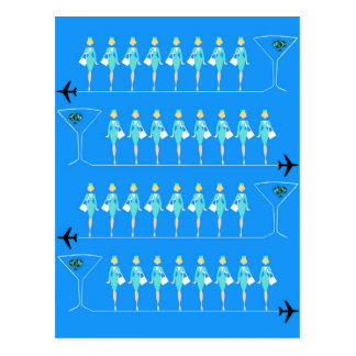 Classic Flight Attendant Postcard