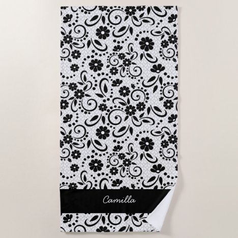 Classic floral black and white stylish beach towel