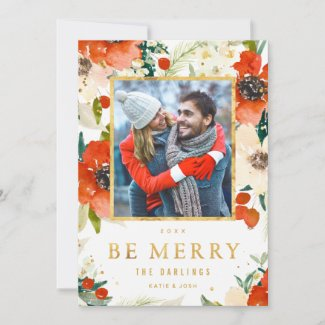 Classic Floral & Gold Christmas Photo Card