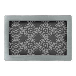 Classic Floral Motif Pattern Black and Gray Belt Buckle