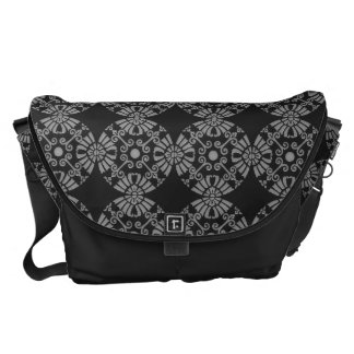 Classic Floral Motif Pattern Black and Gray Courier Bag