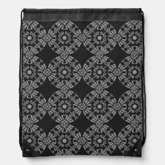 Classic Floral Motif Pattern Black and Gray Drawstring Bag