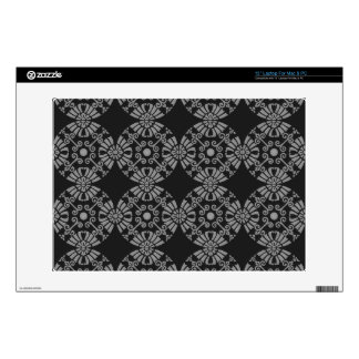 """Classic Floral Motif Pattern Black and Gray Skin For 13"""" Laptop"""
