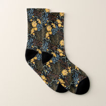 Classic Floral Pattern Black Background Socks