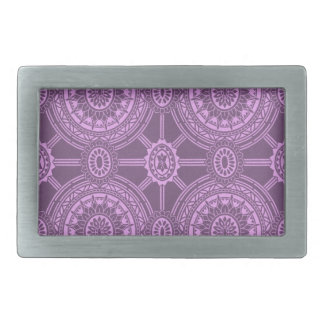 Classic Floral Pattern in Purple Rectangular Belt Buckle