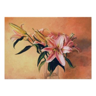 Classic Flower Arrangement lilies flowers painting