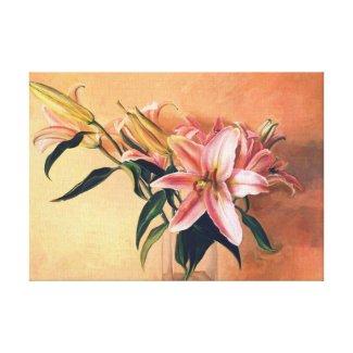 Classic Flower Arrangement lilies flowers painting Gallery Wrap Canvas