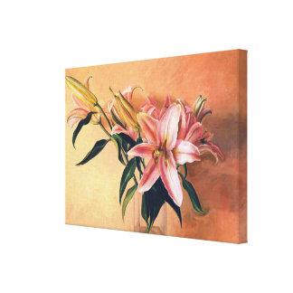 Classic Flower Arrangement lilies flowers painting Canvas Print