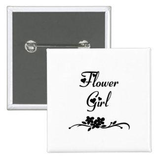 Classic Flower Girl Pinback Button