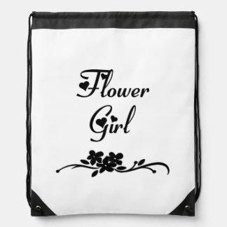 Classic Flower Girl Drawstring Bag