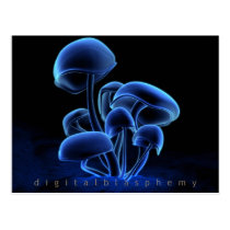 fluorescence, mushrooms, glowing, Postcard with custom graphic design