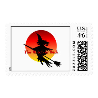Classic Flying Witch Halloween Postage Stamps