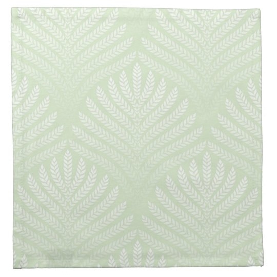 Classic foliage pattern in white and green cloth napkin