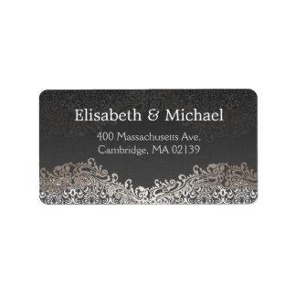 Classic Formal Elegant Vintage Dark Silver Damask Address Label