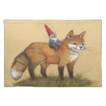 Classic Fox and Gnome Illustrated Placemat Cloth Placemat
