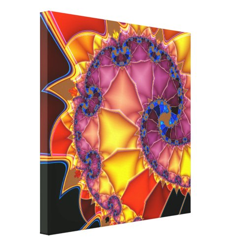 Classic Fractal Spiral in Blue on Yellow and Orang Canvas Print