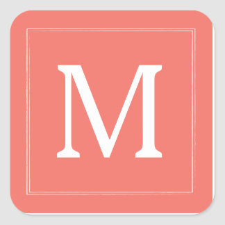 Classic Frame Monogram Stickers - Coral