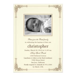 Classic Frame Photo Baptism Christening Invitation Personalized Invitations
