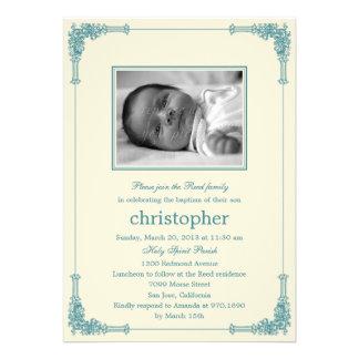 Classic Frame Photo Baptism Christening Invitation Invites