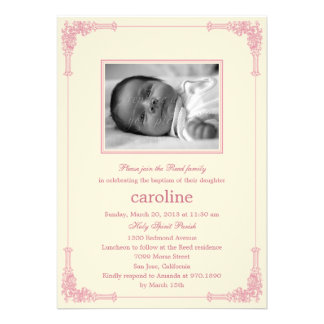 Classic Frame Photo Baptism Christening Invitation Personalized Announcement