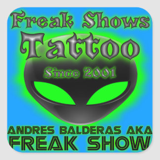 Classic Freak Shows Tattoo Square Sticker