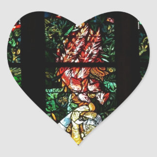 CLASSIC FRENCH STAINED GLASS DESIGN HEART STICKER