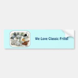 Classic Frill Barred Pigeons Bumper Sticker