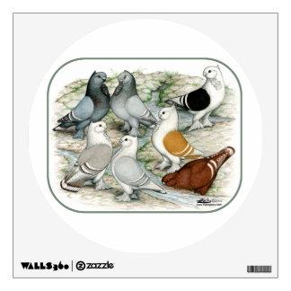 Classic Frill Barred Pigeons Wall Sticker