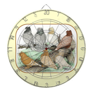 Classic Frill Pigeons Blondinettes Dartboard With Darts