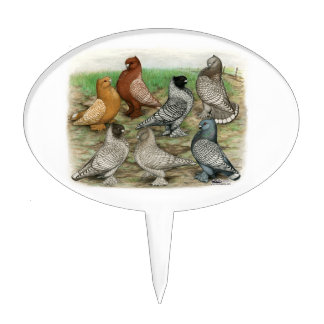 Classic Frill Pigeons Laced Blondinettes Cake Topper
