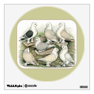 Classic Frill Pigeons Satinettes Wall Decal